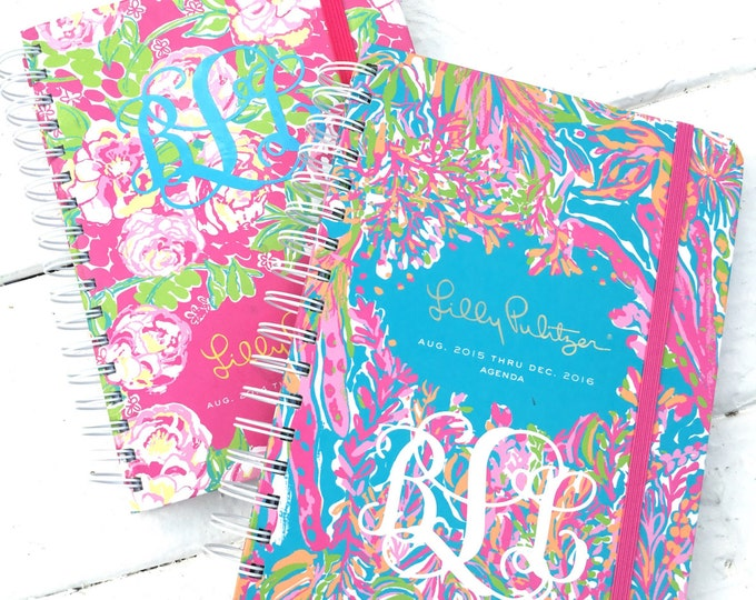Agenda Monogram Decal Small Decal Personalized Decal Preppy Southern Monogram Car Decal Notebook Decal Folder Decal Small Back to School