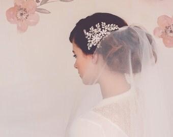 Custom Couture Decorative Wedding Comb. Silver Hair Comb. Winter Wedding Decorative Comb. Bridal Comb Anna rhinestone crystal headpiece #149