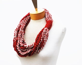 Red Chunky Scarf - Necklace Scarf - Chain Scarf - Crochet Infinity Scarf - Crochet Rope Scarf - Crochet Cowl Scarf - Gift Idea