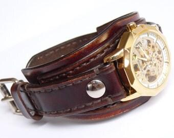 Brown Handmade Leather Watch Cuff