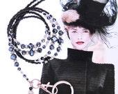 Lanyard, black on black crystals with silver, black fashion lanyard, beaded lanyard, badge clip, key chain, fashion ID holder, bead keychain