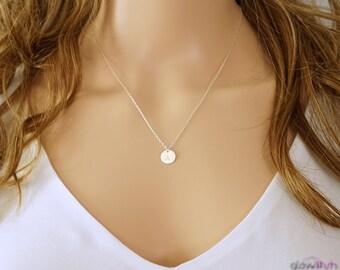 Delicate necklace. graduation gift, simple necklace, silver initial necklace, small circle necklace