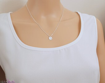 Delicate necklace, initial necklace, simple letter necklace, silver disc necklace, petite jewelry