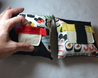 Sushi fabric tooth fairy pillow with ivory off white floral rice and nigiri sushi pocket, choice of red maguro tuna or yellow tamago egg