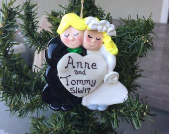 Unique Handcrafted Polymer Clay Newlywed Christmas Ornament Wedding Favor Couple Gift