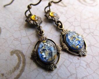 Black Opal Earrings Opal Earrings Fire Opal Earrings Art Nouveau Earrings Art Deco Earrings 1920s Earrings Light Blue Earrings- Cleopatra