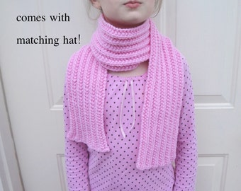 Girls Pink Scarf with Beanie Hat, Hand Knit, Acrylic, German Ribbed, Girls Teens Women, Vegan