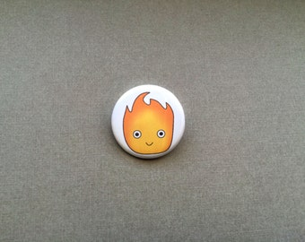 Calcifer Pinback Button, Calcifer Button, Calcifer Pin, Calcifer Badge, Anime Button Badge, Anime Pinback Button - Made to Order