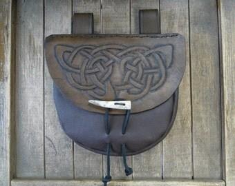 Celtic Leather Pouch, Medieval Renaissance Belt Bag, Celtic Knot, Deluxe - Dark Brown