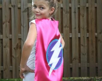 Girls Superhero Cape- PERSONALIZE/CUSTOMIZE- Choose the Initial - Reversible - Superhero Birthday Party-Superhero Costume