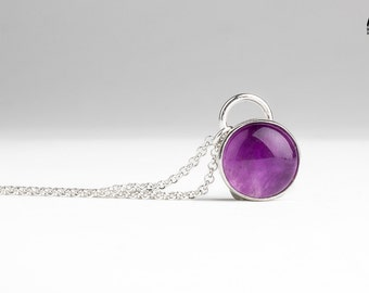 Deep Purple Amethyst gemstone necklace in solid Sterling Silver - February birthstone necklace - Dark purple necklace - Gift for her