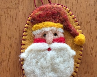 Needle Felted Santa Face With Red Variegated Hat A Christmas Ornament Done On Wool Felt