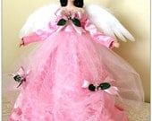 Pink Angel Tree Topper Christmas Angel Dark Haired Shabby Pink Holiday Decoration