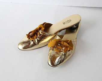 60s Metallic Shoes Mules Slides Gold Audrey Dean Size 9