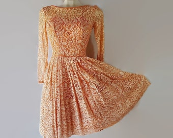 50s Lace Dress Party Wedding Coral Circle Skirt Petticoat Petite