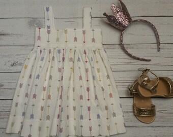 Toddler Girls Swing dress-Sizes 3M to 18M-Arrow Pattern