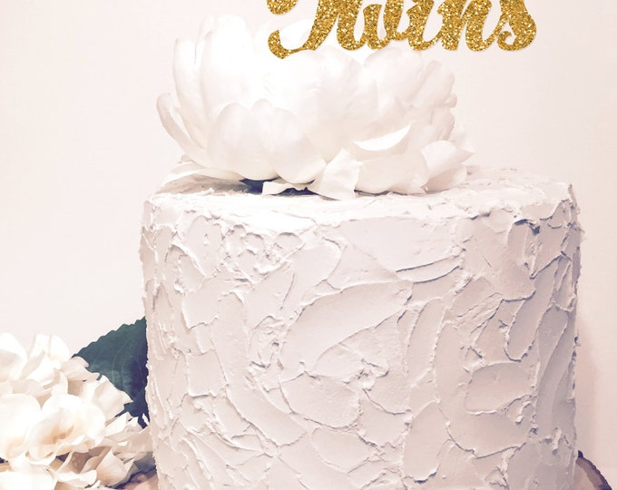 Twins Gold Cake Topper. Chic baby shower decor. Glitter Sparkle. Cursive Script letter.
