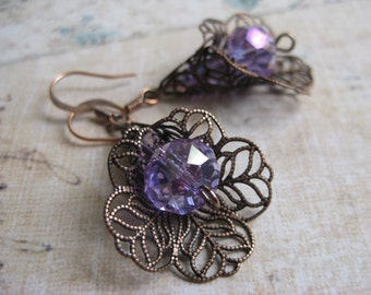 Lilac Filigree calla lily dangle earrings with antique gold and crystals
