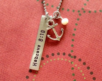 Hebrews 6:19 Anchor necklace with longer chain hand stamped for you!