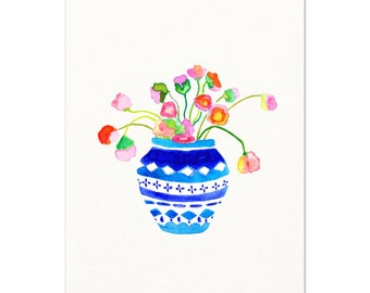 Blue & White Vase with Pink Flowers Wall Art. Floral Bouquet Watercolor Art Print. Traditional Home Decor. Indigo Vase of Flowers Art Print.