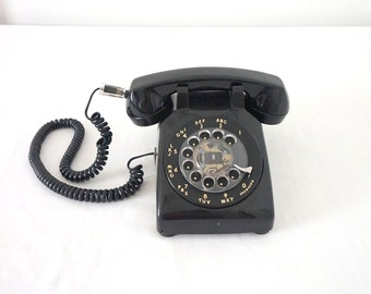Black Vintage Rotary Telephone Office MCM Decor