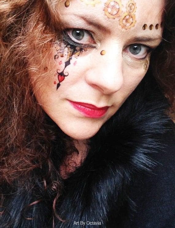 New steampunk temporary tattoo halloween tattoo gothic for Halloween makeup tattoos