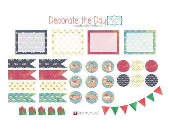 Christmas Fox Set - Planner Stickers