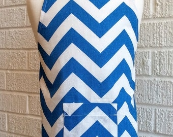 Toddler Blue Chevron Apron with Pocket - Can be Personalized, Royal Blue and White, Free Shipping, Made in The USA