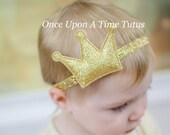 Gold Princess Tiara Sparkle Headband - First Birthday, Newborn Photo Prop - Baby Girls Hair Bow - Sparkly Crown Hairbow  Christmas New Years
