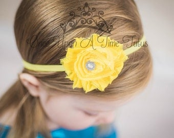 Yellow Shabby Flower Headband - Skinny Elastic Bright Sunshine Shade Solid Color Summer Spring Lemon Hairbow Baby Infant Toddler Photo Prop