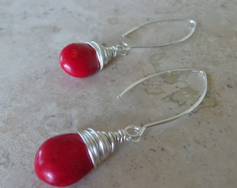 Wire Wrapped Red  Howlite Bead Earrings