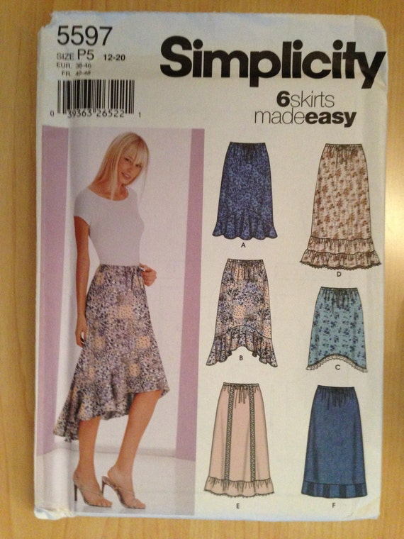 Simplicity 5597 Sewing Pattern Misses Skirts Uncut Size 12-20