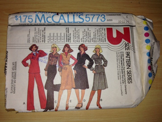 McCalls Sewing Pattern 5773 Misses Dress or Jumper or Top, Skirt and Pants Size 10-14 70s