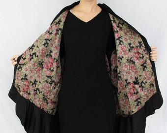 Sale // Amazing Edwardian to 1920s Flapper Cocoon Coat with Floral Silk Lining and Fishtail Hem SIZE MEDIUM/LARGE
