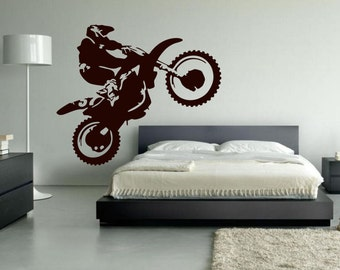 Motocross Wall Decal, Dirt Bike Decor, Motocross Decor, Dirt Bike Wall Decal, Dirtbike Decor, Motocross Baby, Personalized Number - WD0086