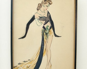 Vintage Original Illustration Mary Ann Nyberg Gouache American Costume Designer - Mid Century