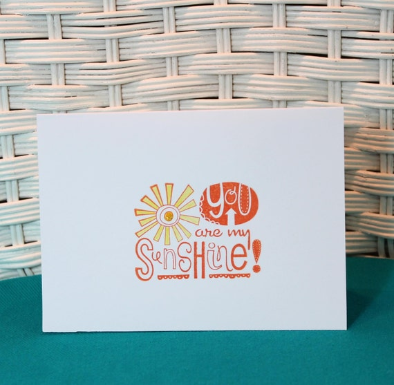 Set of 4 Hand Stamped You Are My Sunshine Note Cards