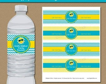 Summer Party Decorations - Family Reunion Water Bottle Labels - Summer Birthday Party Ideas Retirement Party Teacher Appreciation Printables