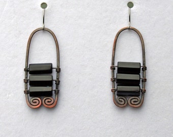 Black onyx and copper earrings