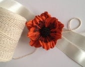 Orange leather flower brooch, Leather brooch, Handmade flower, Bridesmaid flower, Mother of the bride flower, Mothers day gift