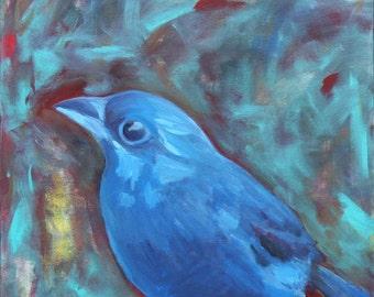 Indigo Visitor 24x24 Acrylic on canvas