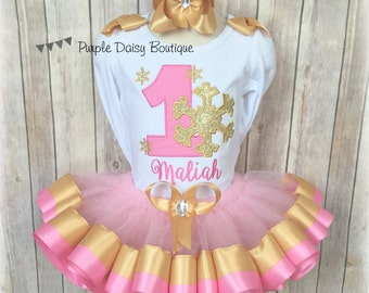 Pink and Gold Winter Onederland Ribbon Trim Tutu Outfit - Winter Wonderland Birthday Outfit - First Birthday Outfit - Birthday Tutu Outfit
