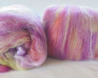 Art Batts to Spin or Felt - NARNIAN MEADOW - smooth luxury art batts made from merino, silk, & firestar, carded in thin stripes, super soft