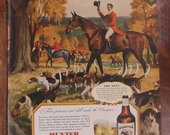 HUNTER WHISKEY Original Vintage Magazine Advertising Alcohol Bar Decor Ready To Frame Additional Ads Ship FREE