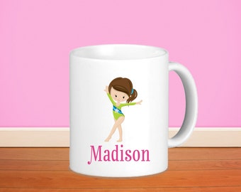 Gymnastic Kids Personalized Mug - Gymnastic Girl Green Suit with Name, Child Personalized Ceramic or Poly Mug Gift