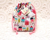 Houses & bicycles Fabric, Reversible Drawstring Project Bag with handle, Knitting Project bag, Reversible project bag, crochet bag