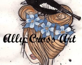 "Fine Art Print ""Lark Hair"" Painting by Ally Cross"