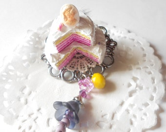 Two-tiered pink ombre cake brooch - handmade miniature polymer clay food jewelry