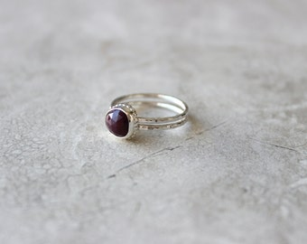 Red Sapphire Ring, Natural Gemstone Ring, Sterling Silver Ring Size 7 US