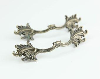 Vintage Brass Hardware, Leaf de fleur ends, Curved Handle Pulls, for cabinets and drawers (set of 2).